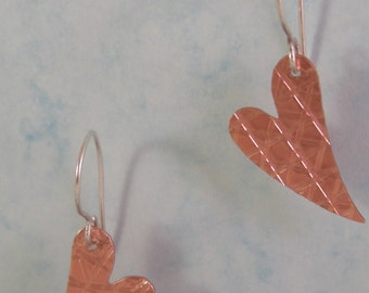 Whimsical Hearts - Textured Copper and Sterling Silver