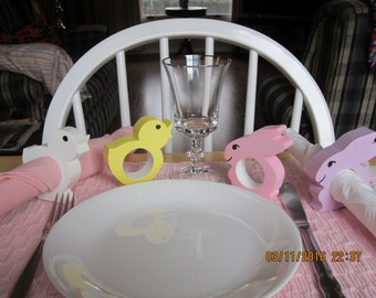 Set of 4 Hand Painted Easter Bunny and Chick Napkin rings / holders