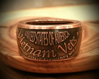 Vietnam Veteran - Hand Forged .999 Pure Copper Coin Ring