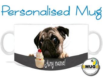 Pug Mug with Cherry Cake