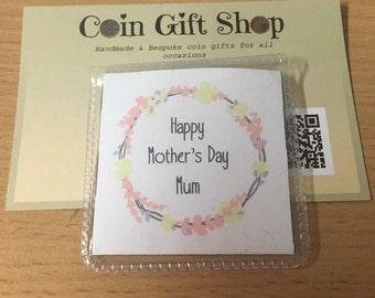 Personalised lucky sixpence mother's day keepsake gift mum mom nan grandma