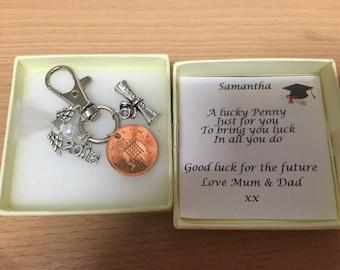 Lucky penny graduation keyring keepsake