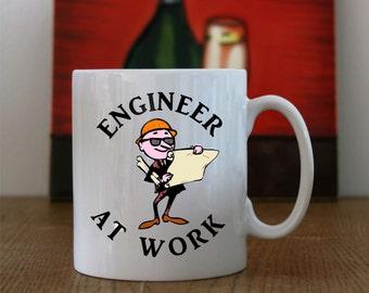 "Engineers Printed Coffee/Tea mug ""Engineer at Work"", Engineer at Work Coffee/Tea mug, Engineers mug, Engineers printed Coffee/Tea mug"