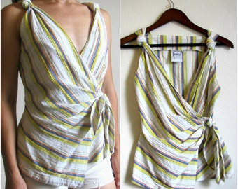 90s Vintage Boho Pastel Striped Peplum Top Size SM/MM/ 70s Womens Vintage Clothing Wrap Summer Top
