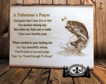 Fisherman's Prayer, laser engraved on wooden plank ready to mount on wall
