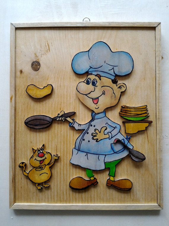 items similar to funny kitchen wall collection chef