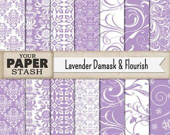 Damask Scrapbook Paper, Damask Digital Paper, Lavender Damask, Lavender Flourish, Lavender Flowers, Digital Paper Pack, Scrapbook Paper