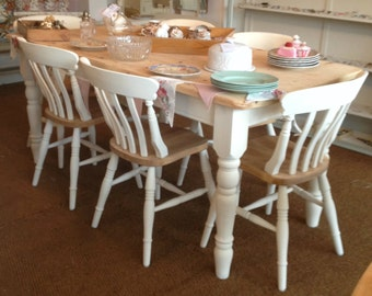 Pine Chairs, Farmhouse Pine Dining Chairs ~ Set of 4/6/8 Bespoke Shabby Chic Painted Pine Dining kitchen Chairs SOURCED TO ORDER