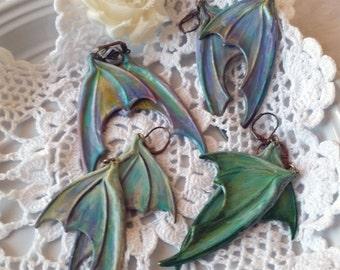 Dragon Wing Earrings, Large Hand Painted Solid Brass, Fairy Wings, Bat Wing Dangle Earrings, Dragon Jewelry