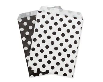 Party Favor Bag, Paper Favor Bags, Black & White Polka Dot Paper Favor Bags, 1st Birthday Party Favors, Engagment Party, Wedding Favor Bags