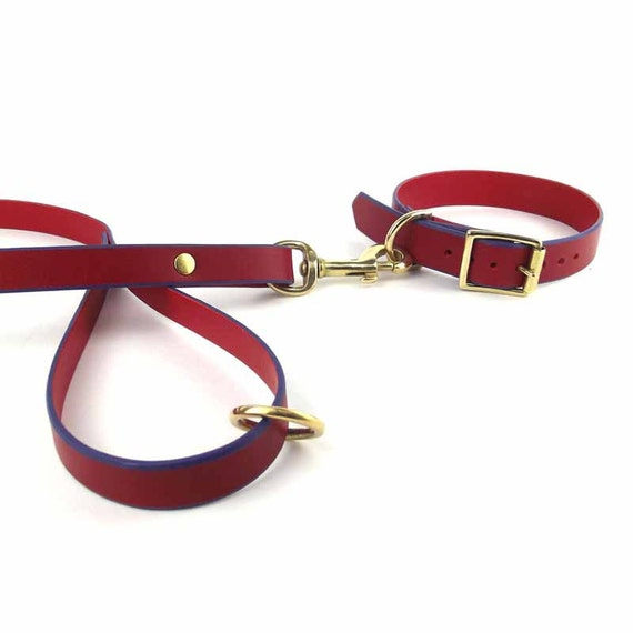 Red Leather Collar Leash Set