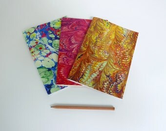 3 notebook A5 with motifs of marbled papers - 27 different patterns available