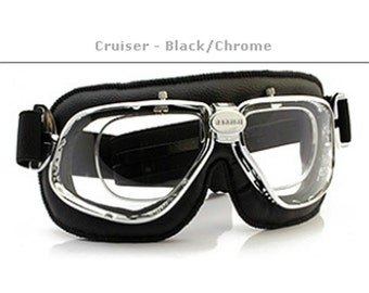Nannini Cruiser - Prescription Retro Vintage Motorcycle Flying Goggles Chrome/Blk