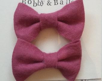 Bow Hair clips handmade raspberry pink