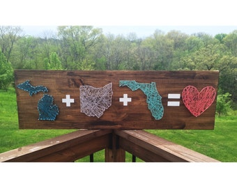 3 state home sign, state home sign. String art, kentucky string art, home is where the hearts at, texas string art, california string art