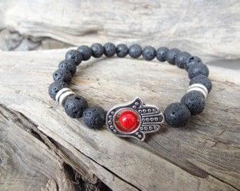 EXPRESS SHIPPING,Hamsa Hand Bracelet,Lava Stone Bracelet,Protection,Good Luck Mala Bracelet,Yoga,Meditation,Gift for Him,Father's Day Gifts