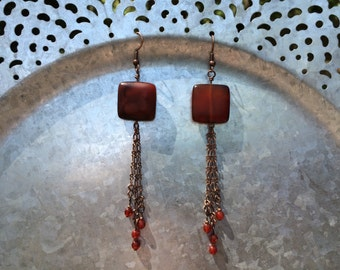 Agate and Red Glass Beaded Earrings