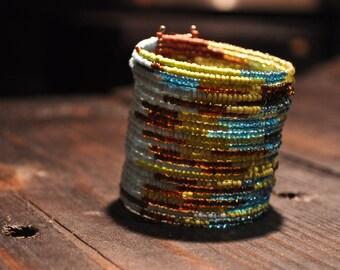 Beaded Cuff, Earth Tones, Boho Chic Bracelet, Bohemian, Chunky Bracelet, Multi Tone, Artsy Jewelry, Trendy Cuff, Beautiful, Fun Cuff