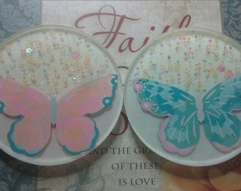 Spring Butterfly Coaster Pair