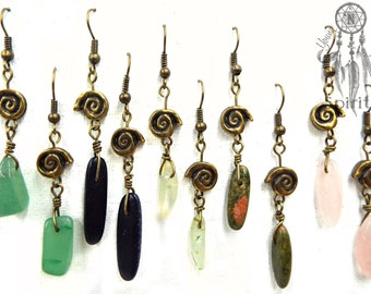 Gemstone Earrings/Elegant/Drop Dangle/Raw Gemstone/Jade/Spiral/Boho/Bohemian/Hippie/Mystic/delicate/handmade jewellery/Gift Idea for Her