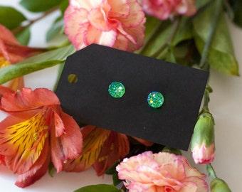 8mm Emerald Green Druzy Stud Earrings - Great Bridesmaid Gift!
