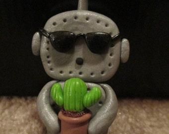 "Polymer clay ""Arizona"" style robot refrigerator magnet"