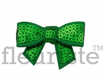 EMERALD 2 inch Sequin Bows, Mini Sequin Bows, Mini Bows, Sparkly Bows, Fabric Bows, DIY Bows, Soft Bows, Wholesale Bows, Diy Headband