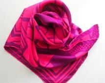 Vintage Jacqmar Silk Scarf, Designer Scarf, Women's Accessories, Bandana, Purple and Pink Cubist Design