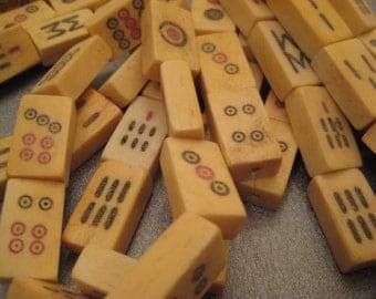 Ox Bone Mahjong Tiles Beads Center Drilled 9pcs