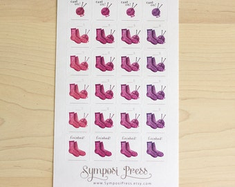 Socks! Knitting Work-in-progress Planner Stickers in Purples (Inkwell Press, Erin Condren, Plum Paper, Fliofax, Kikki K, Happy Planner)