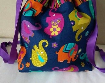 SMALL Elephant drawstring project bag