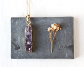 Amethyst Bar Necklace, Crystal Druzy Pendant Dipped in Gold Jewelry