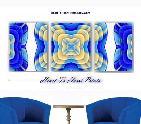 royal blue ivory abstract wall decor by hearttoheartprints on etsy. Black Bedroom Furniture Sets. Home Design Ideas