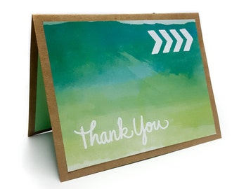 Thank You - Handmade Embossed Watercolor Card - Green and Blue Greeting Card