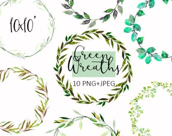 Green Leaves Wreaths Clipart PNG Leafy Watercolor Digital Instant Download Images Pictures Art Commercial Use DIY Wedding Invitations Card