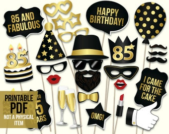 85th Birthday Photo Booth Props Printable PDF Black And Gold Eighty Fifth Party