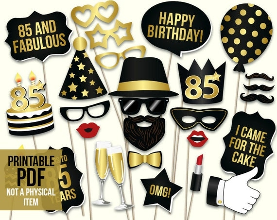 85th Birthday Photo Booth Props Printable Pdf Black And Gold
