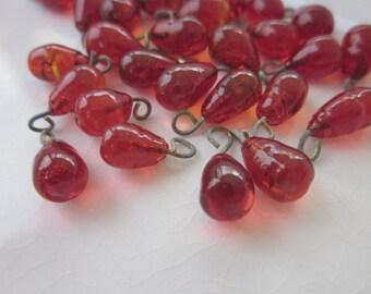 31 Vintage Drops, Red-Orange Glass Teardrop on Brass Wire, 11mm x 5mm