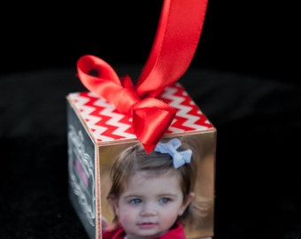 aby's Christmas Ornament, Wooden Photo Block Ornament, Personalized Photo Block Ornament, Keepsake Photo Ornament, Wooden Photo Block