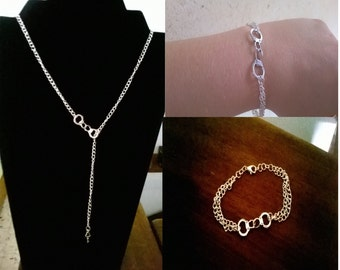 Adornment handcuffs and made new key hand (necklace, bracelet) silver