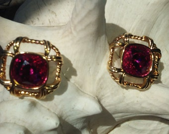 Authentic Swarovski Crystal Fuchsia/ Gold Earrings.