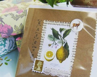 English country garden lemon greeting card