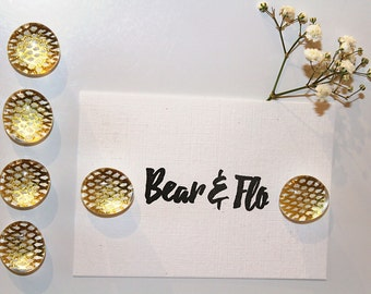 Set of Six ~ Metallic Gold ~ Glass Magnets ~ Fridge Magnets ~ Refrigerator Magnets ~ Ornamental Magnets