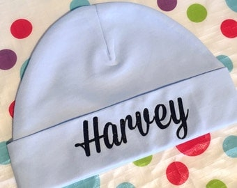 Personalised Baby Beanie Hat, Infant Boy Personalised Newborn Baby Shower Gift, infant girl hat, newborn hat, baby boy, name hat baby