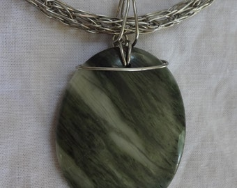 Viking Knit Silver Necklace with Seaweed Quartz Pendant