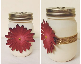 Flower Mason Jar centerpiece or candle holder