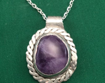 Amethyst in sterling silver Pendant with chain