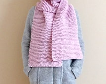 Long Scarf Chunky Knit Scarf Light Pink Scarf Womens Scarf Warm Winter Scarf Womens Spring Scarf Womens Scarf Wheat 10 x 72 - Ready to Ship
