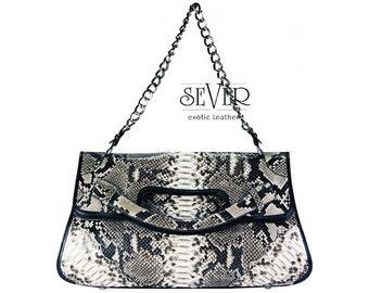 Genuine Python Snakeskin Exotic Leather Shoulder Bag Purse Handbag Handmade Natural Gray Color Snake Pattern Chain Strap SeVer