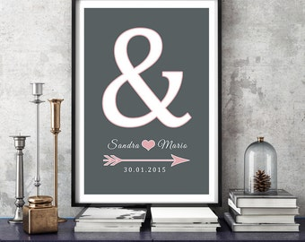 Personalized printing anniversary wedding day mural '&'